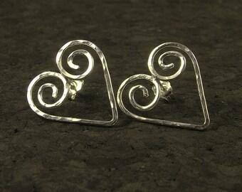 Sterling Silver Heart Post Earrings / Hammered Artisan Argentium Heart Stud Earrings Valentines Girls Ladies Gift