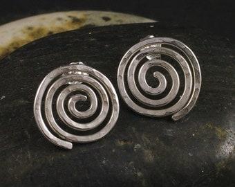 Silver Spiral Earrings / Hammered Sterling Swirl Stud / Post Earrings Swirling Curl Vortex Eternity Posts Studs