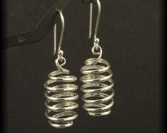 Silver Spiral Earrings - Sterling Spirals Dangle from Budded Handmade Ear Wires - Argentium Metal