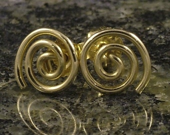 Little Gold Earrings / Small Solid 10K Gold Post Earrings / Swirl Spiral Simple Classic Tiny Tribal Small Studs