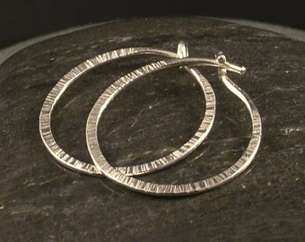 Silver Hoop Earrings / Hammered Simple Sterling Silver Textured Minimalist Small Sleeper Hoops