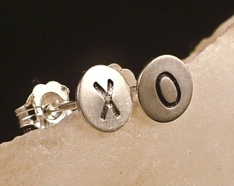 Tiny Silver Post Earrings / XOXO Silver Earrings / Little Hugs and Kisses in Argentium Sterling Silver Post Earrings / Small Studs