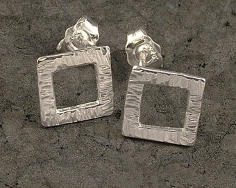 Sterling Silver Post Earrings - Small Hammered Squares of Silver Earrings -  Artistic Classy Simple All Ages