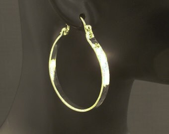 Big Silver Hoops / Hammered Hoop Earrings / Available Antiqued / Distressed or a High Shine