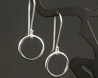 Silver Dangle Earrings - Simple Small Hoops of Argentium Sterling Silver Classic Simplicity Girls Earrings Ladies Earrings Womens Gift