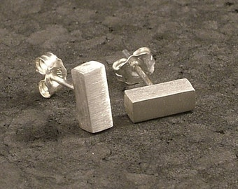 Solid Silver Brick Post Earrings made from Argentium Sterling