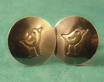 Bird Sterling Silver Post Earrings - Antiqued or Shiny Your Choice - A Little Tweet