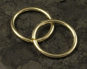Tiny Gold Fill Hoops - 14K / Catchless / Endless / Seamless Hoop / Tragus / Helix / Cartilage / Nose Ring / Customize to Your Size