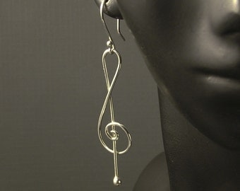 Treble Clef Silver Earrings / Musical Dangles / Music to My Ears / A Rockn Metal Design - Sweet Sweet Music