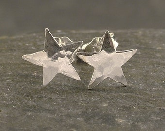 Silver Star Earrings  - Tiny Sterling Post / Studs - Dainty and Little - A Stargazer's Delight
