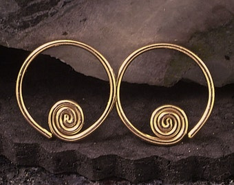 Rose Gold Hoop Earrings / Small Hoops / Sleeper Hoops with a Swirl / Half Inch or Customize to Your Size / Also Available in Yellow Gold