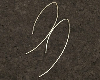 Long Silver Earrings - Sleek and Elegant Argentium Sterling Silver Dangles - Simple Metal Curves of Elegance READY TO SHIP