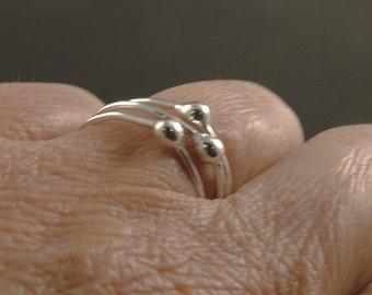Sterling Silver Ring - Set of 3 Stacker Rings Argentium Minimalist Unique Simple Pretty Tear Metal Bud Drop Modern MetalRocks