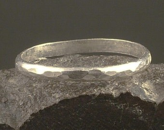 Simple Hammered Sterling Silver Band - Excellent Stacker Rings - Argentium Ring - Simple Silver Band - Hammered Band