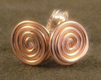 Pink Gold Earrings / Small Swirl Posts / Rose Gold Studs / Simple Swirls / Tiny Gold Earrings / Little Gold Studs / Pink Gold Studs