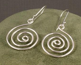 Silver Spiral Earrings / Simple Sterling Dangles / Fun Handmade Swirl Dangle  Argentium / Spiritual Energy