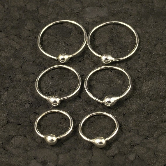 Tiny Sterling Silver Tear Hoop Set