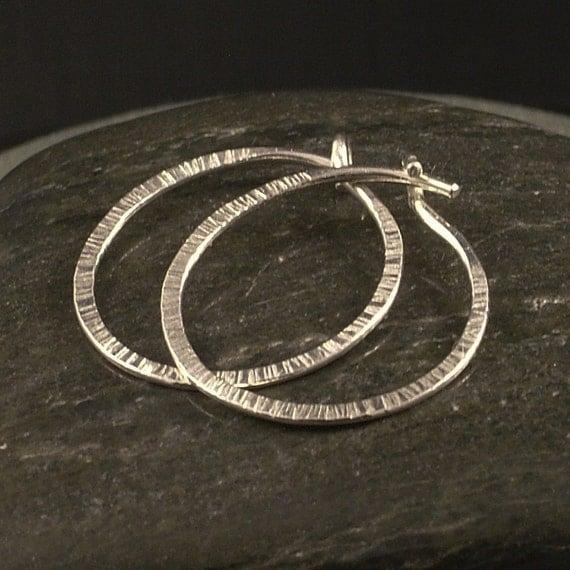 Silver Hoop Earrings / Small Hammered Simple Hoops / A Little Textured Earring / Sleeper Hoops