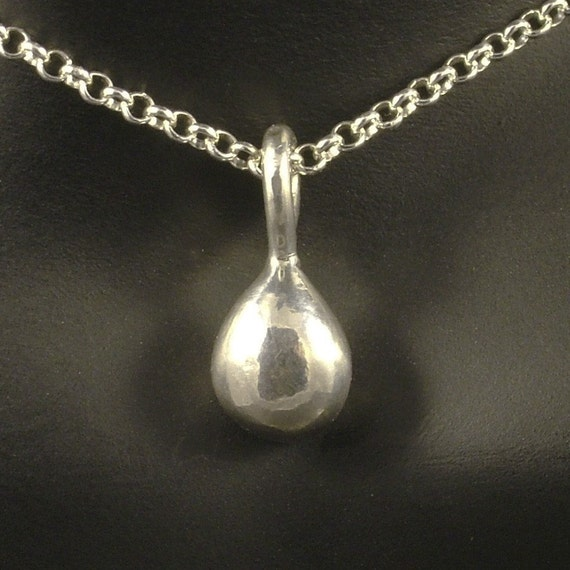 Silver Drop Pendant with Chain / Solid Silver Tear Necklace / Modern Minimalist Upcycled Recycled MetalRocks Eco-Friendly