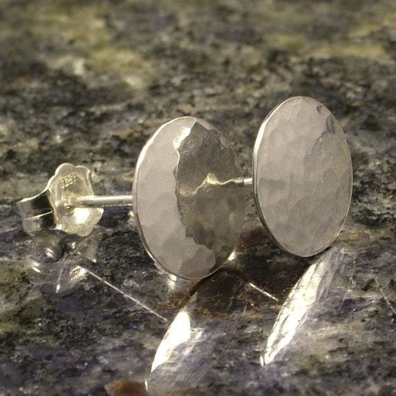 Little Hammered Sterling Silver Post Earrings