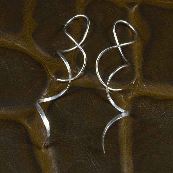 Spiral Silver Earrings / Long Spirals / Hammered Sterling Silver / Dangle / Twisted Metal / Metal with a Twist