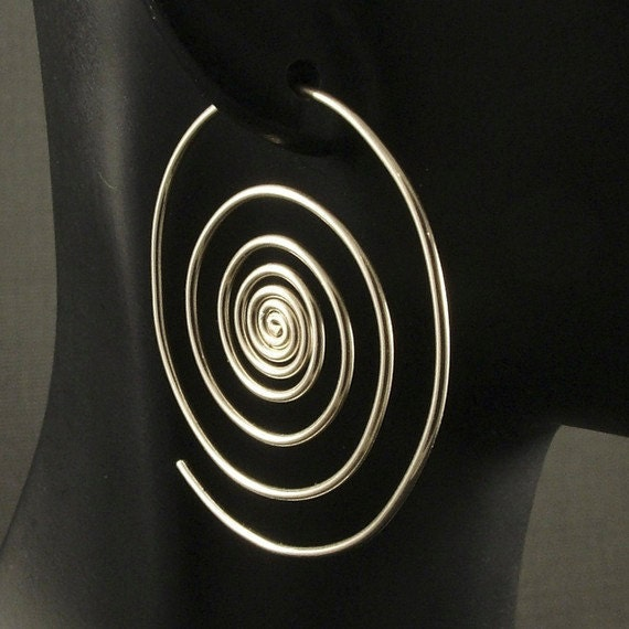 Silver Hoop Earrings  / Super Spirals / Sterling Silver Hoops / Out of the Vortex /  Large Big Swirl Spiral