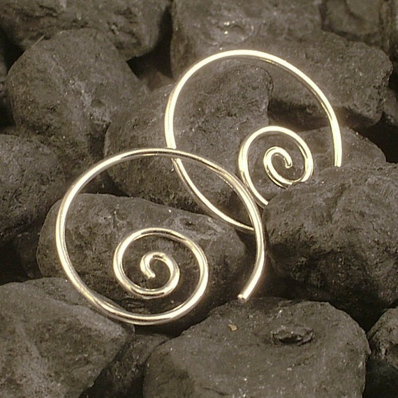 Silver Hoop Earrings /  Simple Sterling Silver Hoops  / Swirl Curl Coil Simple Minimalist Tribal Goddess MetalRocks