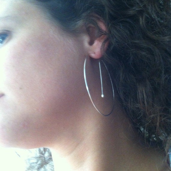 Extra Large Silver Hoop Earrings / Big Silver Hoops - A MetalRocks Original Design - Unique  Modern Minimalist Different Earring