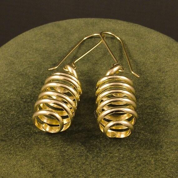 Gold Spiral Earrings / Simple Spirals Swirl in Golden Dangles / Pretty Feminine Energy Vortex Different Unique