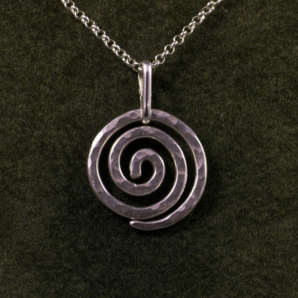 Dna Tattoo Silver Spiral Necklace...