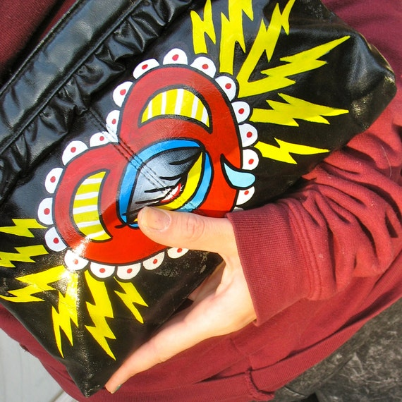 RESERVED clutch ELECTRIC HEART handpainted tattooed purse byLB