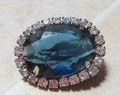 Vintage brooch blue glass with rhinestones