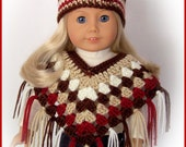 Fits American Girl Doll, 2 Pc Multi-Color Poncho and Hat Set, Crochet 18 Inch Handmade