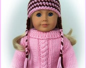 Handmade Doll Clothes Made To Fit American Girl, Crochet Pigtail Hat with Earflap, Braids, Handmade Fits 18 Inch
