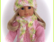 Handmade Doll Clothes Made To Fit American Girl , Hat & Scarf Set, Soft and Fluffy Pink Multi Color,  Crochet 18 Inch Doll Clothes