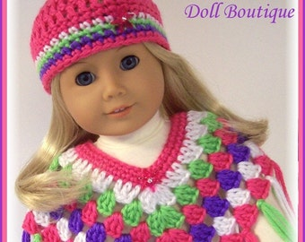 2 Pc Poncho and Hat Set Made For American Girl Dolls, Bright Pink,Purple,Lime, 18 Inch Doll Clothes