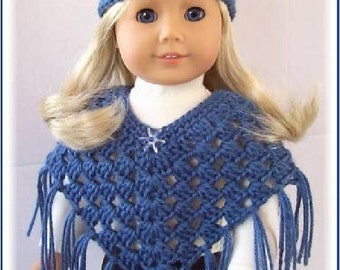 Handmade Doll Clothes Made To Fit American Girl, 2 Pc Country Blue, Crochet Poncho and Hat Set, 18 Inch Handmade