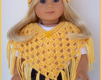 Handmade Doll Clothes Made To Fit American, Sunshine Yellow Poncho Set, Crochet, Handmade Doll Clothes