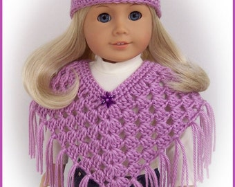 Doll Clothes Made To Fit American Girl, Crochet Blackberry Poncho Set, Handmade 18 Inch Doll Clothes