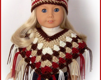 Handmade Doll Clothes, Made To Fit American Girl, 2 Pc Multi-Color Browns Poncho and Hat Set, Crochet 18 Inch Handmade