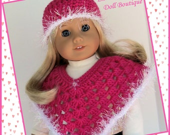 Doll Clothes Made To Fit American Girl, Crochet 2 Pc Poncho Set, Bright Pink, ICE SPARKLE, 18 Inch Doll Clothes