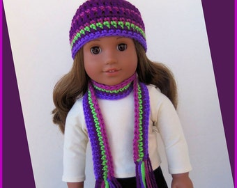 Hat and Scarf Set For American Girl Dolls, Pretty Violet Stripe, Handmade 18 Inch Doll Clothes