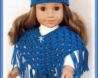 """Handmade Doll Clothes Made For American Girl, Crochet OCEAN BLUE Poncho Set Handmade 18"""" Doll Clothes"""