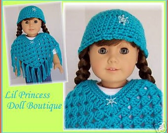 Doll Clothes Made To Fit American Girl, 2 Pc Poncho Set, Turquoise, Crochet Fits18 Inch Doll