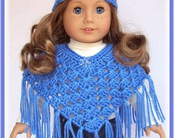 Doll Clothes Made For American Girl, Crochet Poncho Set, Blueberry,18 Inch, Handmade