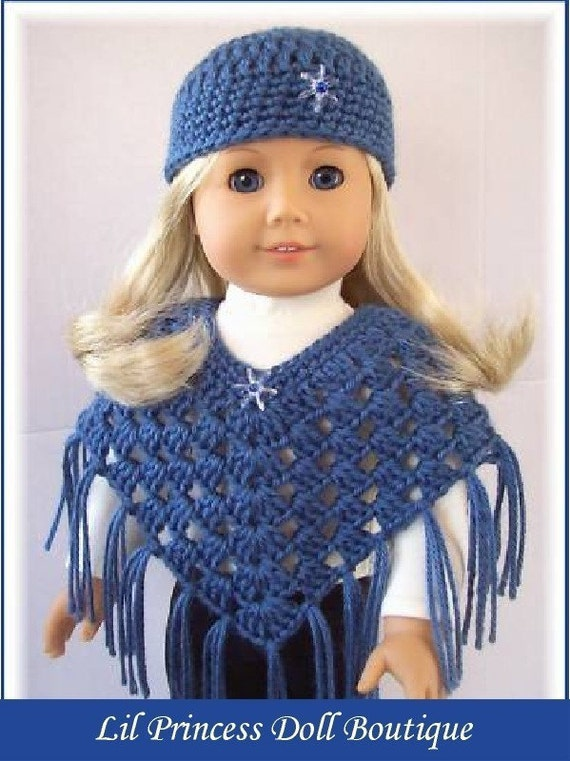 2 Pc Country Blue, Crochet Poncho and Hat Set for American Girl Dolls, 18 Inch Handmade