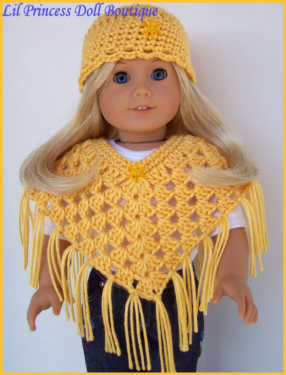 American Girl Doll Clothes, Sunshine Yellow Poncho Set, Crochet, Handmade Doll Clothes