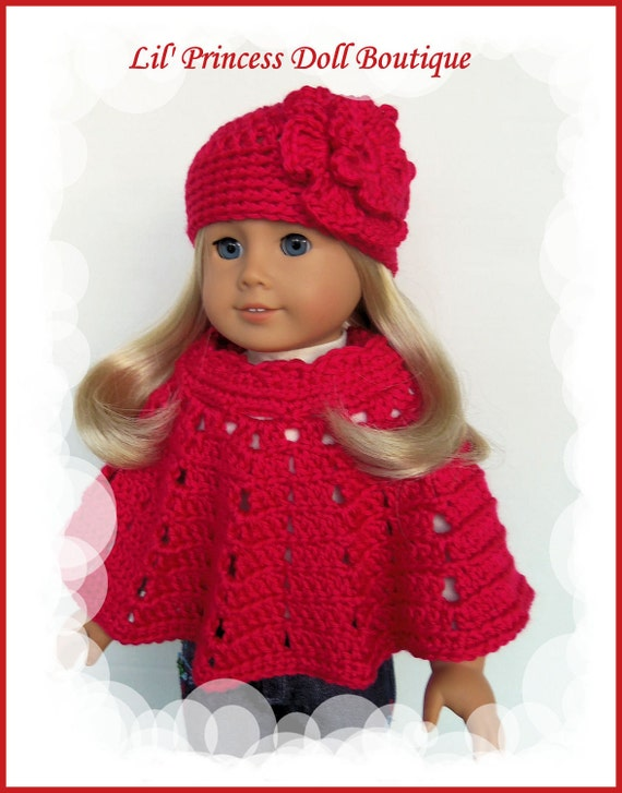 Fits American Girl or Gali Girl Doll, Crochet 2 Pc Poncho Set, Rubine Red, 18 Inch Doll Clothes