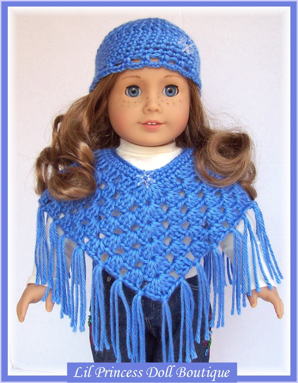 Fits American Girl Doll Crochet Poncho Set Berry Blue18