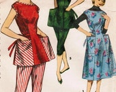 1950s Simplicity 1347 Vintage Sewing Pattern Misses' Cobbler Apron, Dress, and Pants Size 16 Bust 34